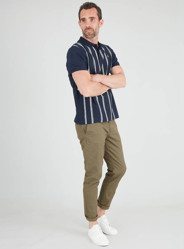 Navy Vertical Stripe Polo Shirt - L