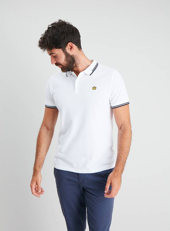 White Pique Tipped Polo Shirt - L