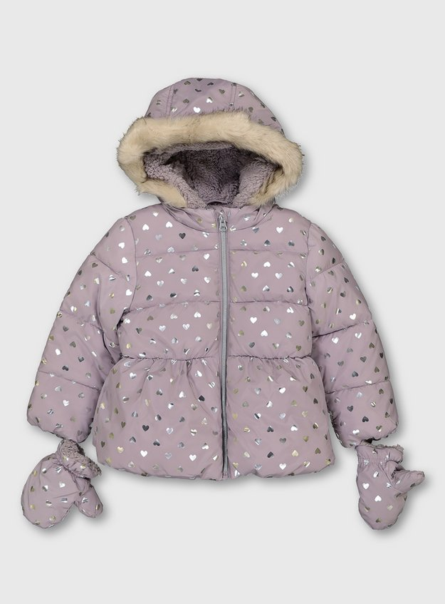 Grey Shower Resistant Padded Coat with Mittens