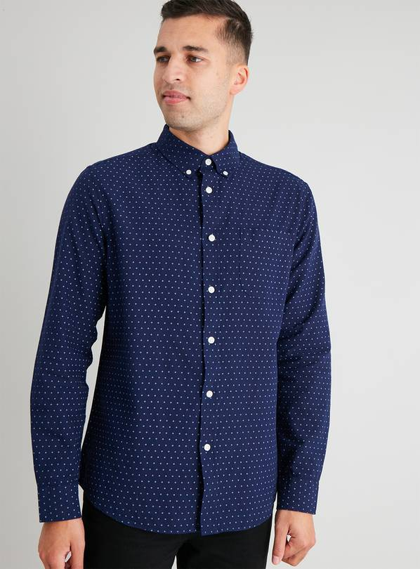 Navy Ditsy Geo Print Regular Fit Oxford Shirt - XXXXL
