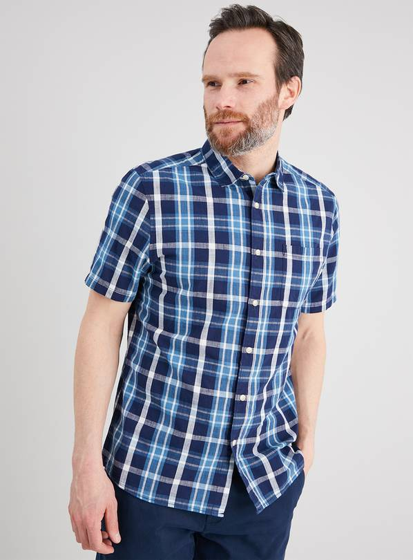 Blue Check Regular Fit Shirt - XXXL