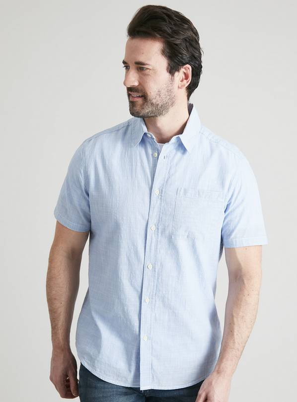 Blue Cotton Slub Regular Fit Short Sleeve Shirt - XXXXL