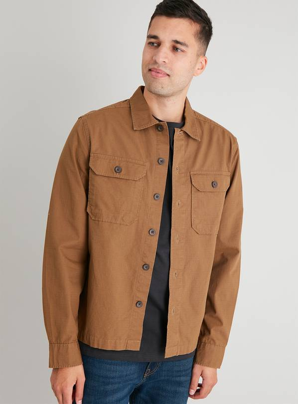 Brown Ripstop Long Sleeve Overshirt - XXL