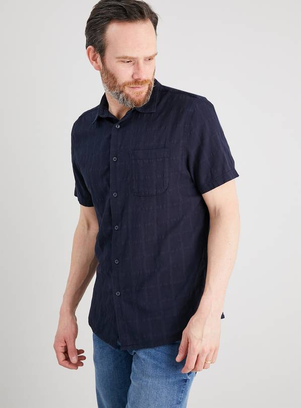 Navy Grid Short Sleeve Regular Fit Shirt - M