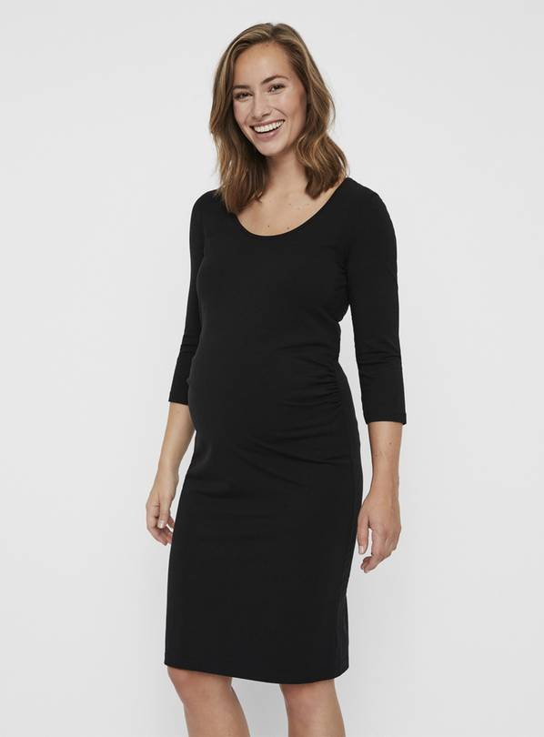 Black 3/4 Sleeve Jersey Maternity Dress - 10