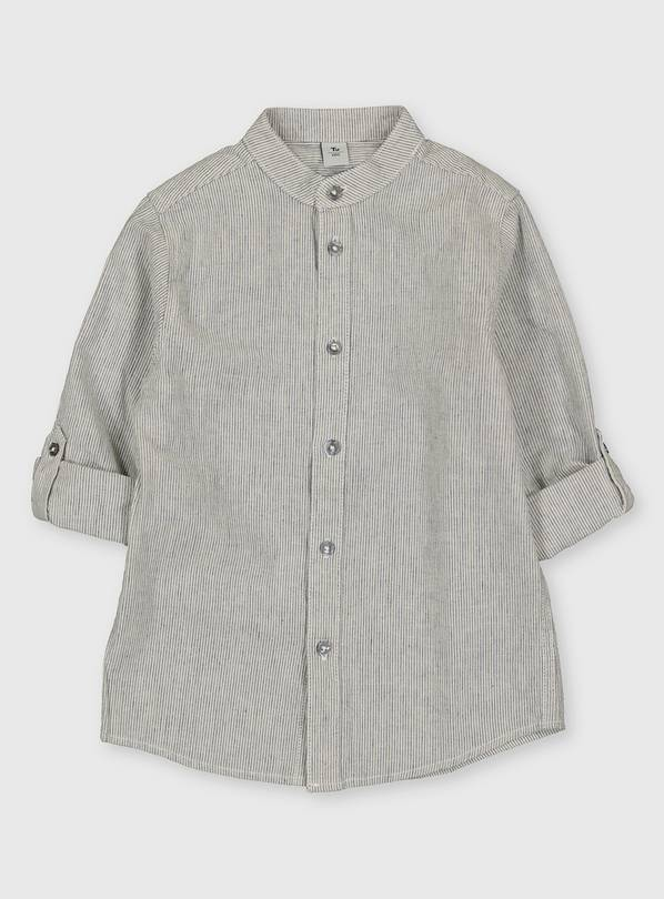 Woven Stripe Linen Blend Grandad Shirt - 7 years