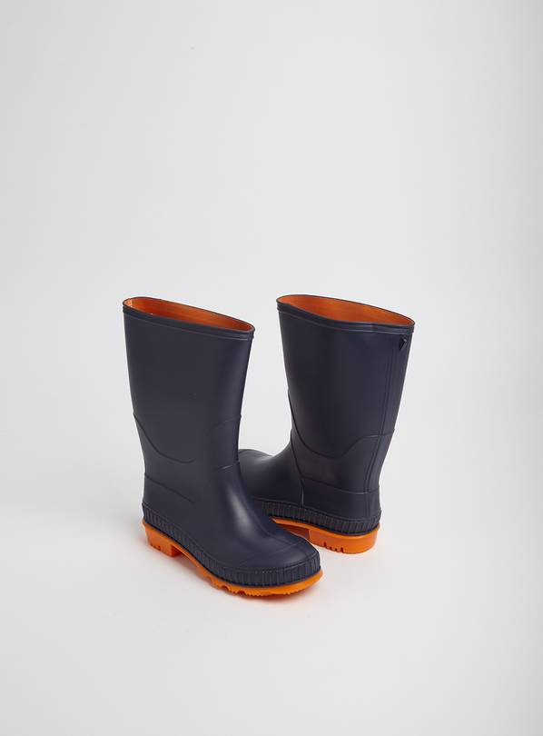 Navy Blue Wellies With Orange Soles - 4