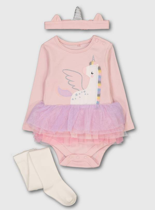 Pink Unicorn Tutu Bodysuit, Headband & Tights - Up to 1 mth