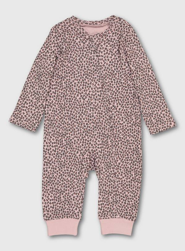 Leopard Print Zip-Through Sleepsuit - Up to 1 mth