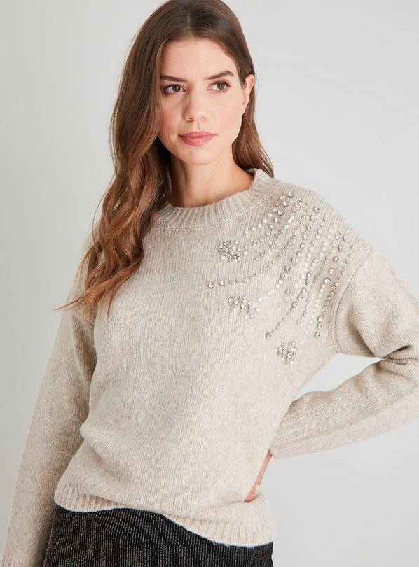 Oatmeal Pearl & Diamanté Jumper With Wool - 16