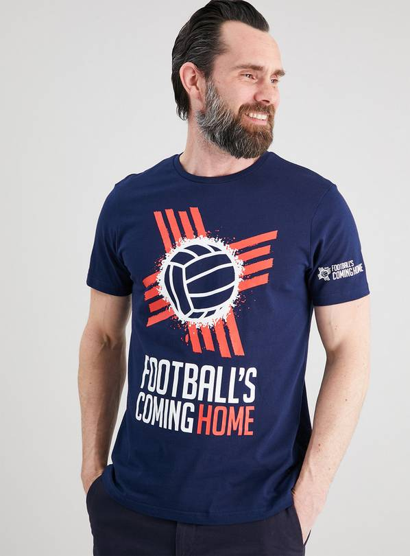 Navy 'Football's Coming Home' Slogan T-Shirt - M