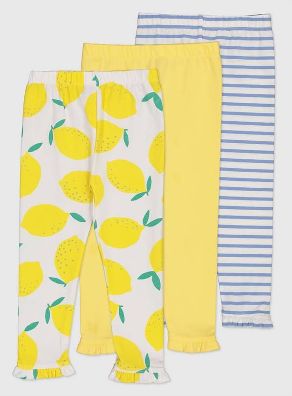 Lemon & Stripe Cropped Legging 3 Pack - 2-3 years
