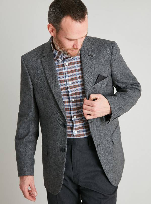 Grey Herringbone Wool Blend Regular Fit Suit Jacket - 48S