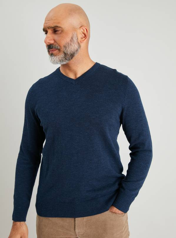 Blue Marl V-Neck Long Sleeve Jumper - XXL