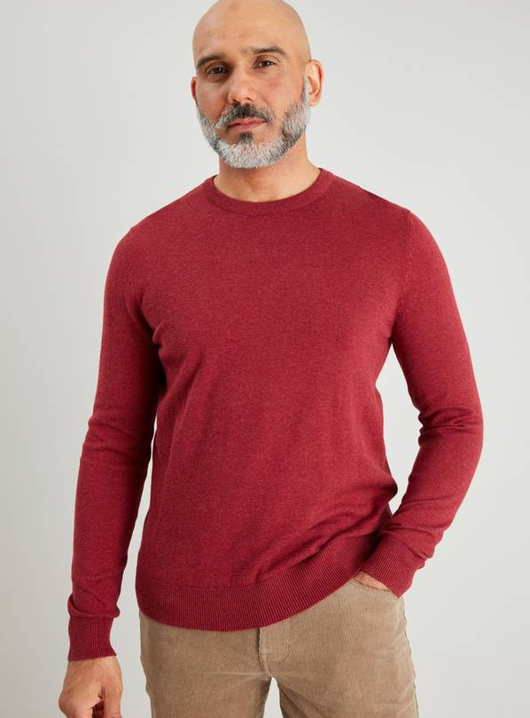 Burgundy Crew Neck Jumper - XS