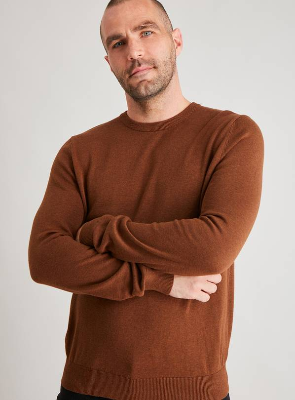 Brown Crew Neck Jumper - S