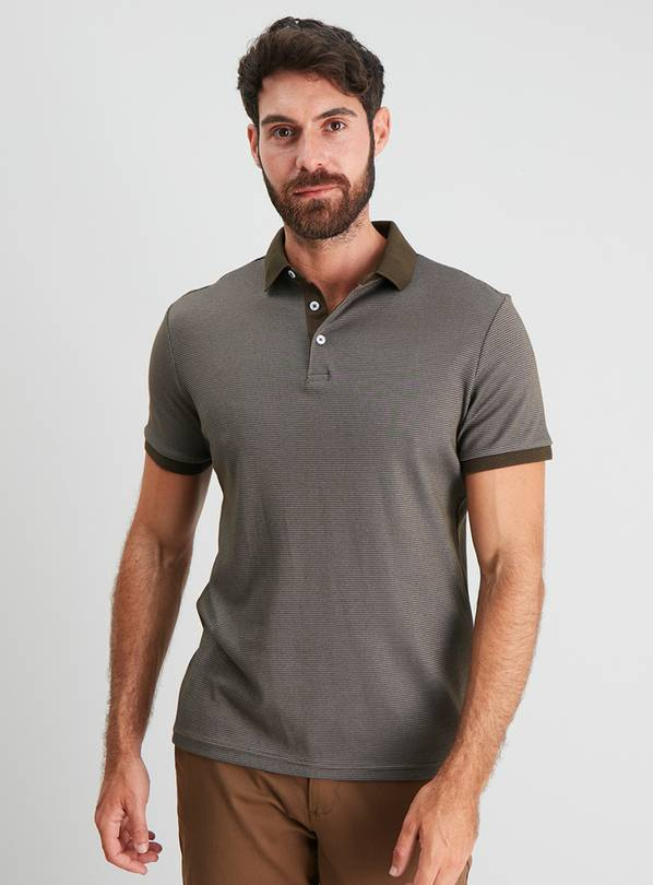 Khaki Cross Dye Polo Shirt - XXXXL
