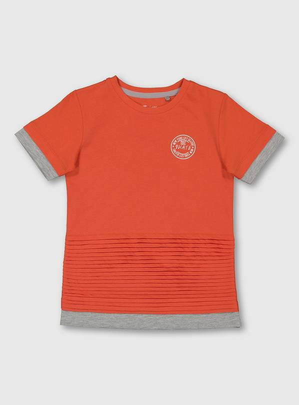 Orange Pleated Short Sleeve T-Shirt - 3 years