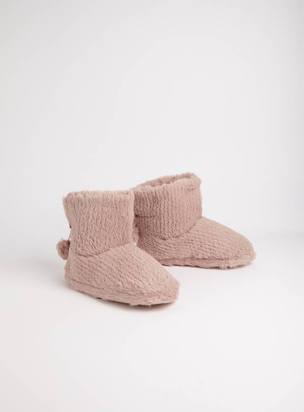 Pink Sparkle Slipper Boots - S