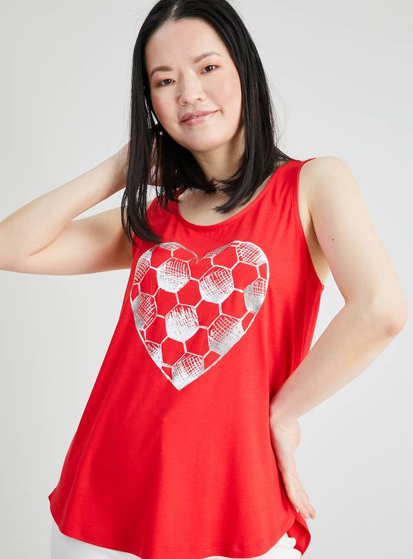 Red Euro Heart Football Vest Top - 12