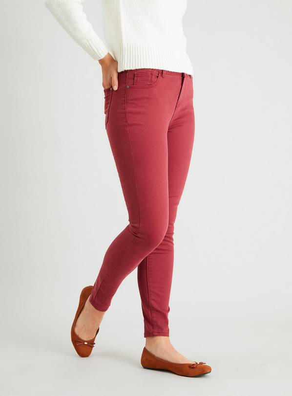Red Twill Skinny Jeans With Stretch - 10L