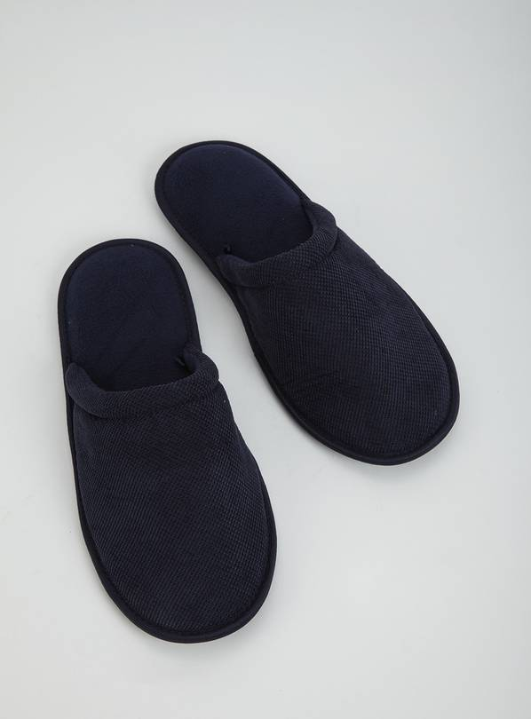 Navy Textured Mule Slipper - M