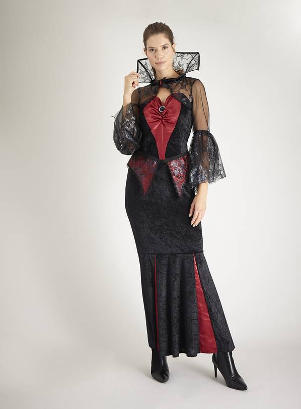 Halloween Black & Red Vampiress Costume - 16-18