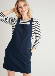 Navy Blue Cotton Cord V neck Zip Front Dress  from Tu