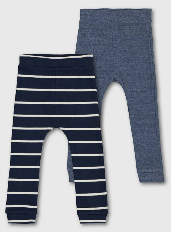 Blue & Stripy Ribbed Leggings 2 Pack - 9-12 months