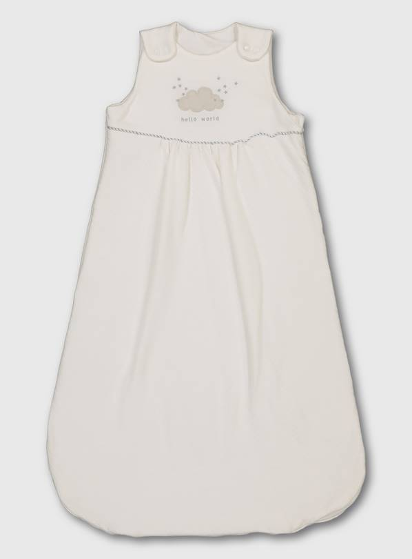 White Organic 'Hello World' Sleeping Bag - 6-12 months