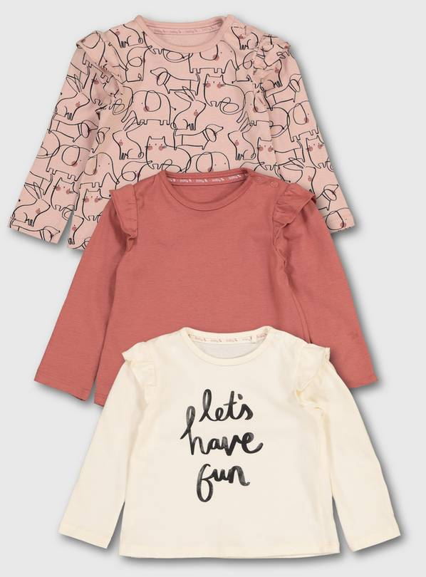 Pink 'Let's Have Fun' Tops 3 Pack - Up to 1 mth