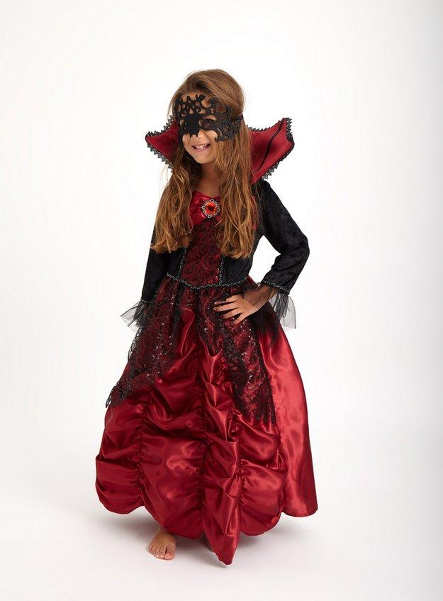 Halloween Red & Black Vampiress Costume (3-12 Years)