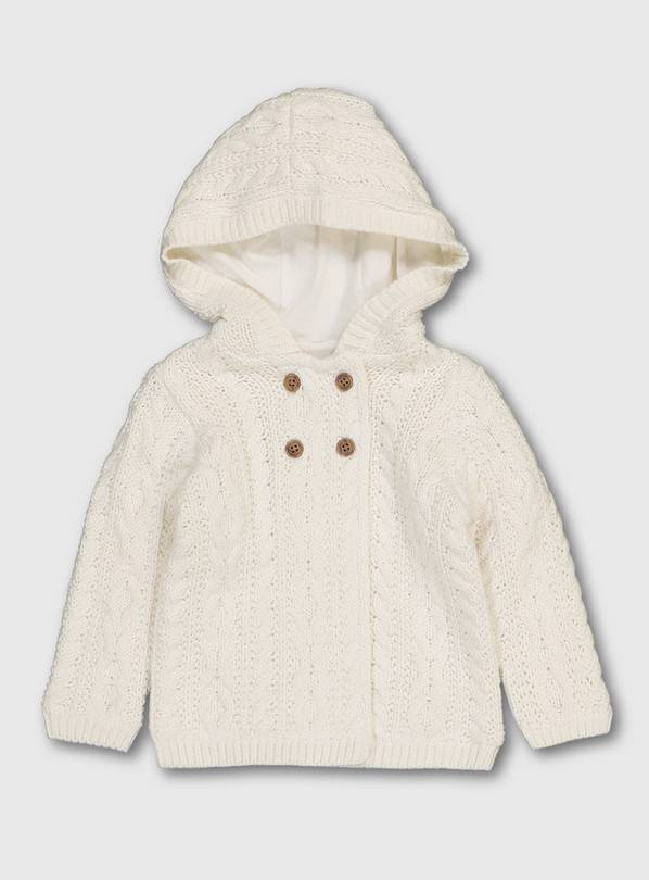 Oatmeal Hooded Cable Knit Organic Cardigan - 9-12 months