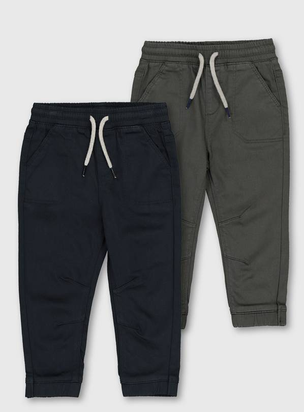 Navy & Charcoal Loopback Trousers - 1.5-2 years