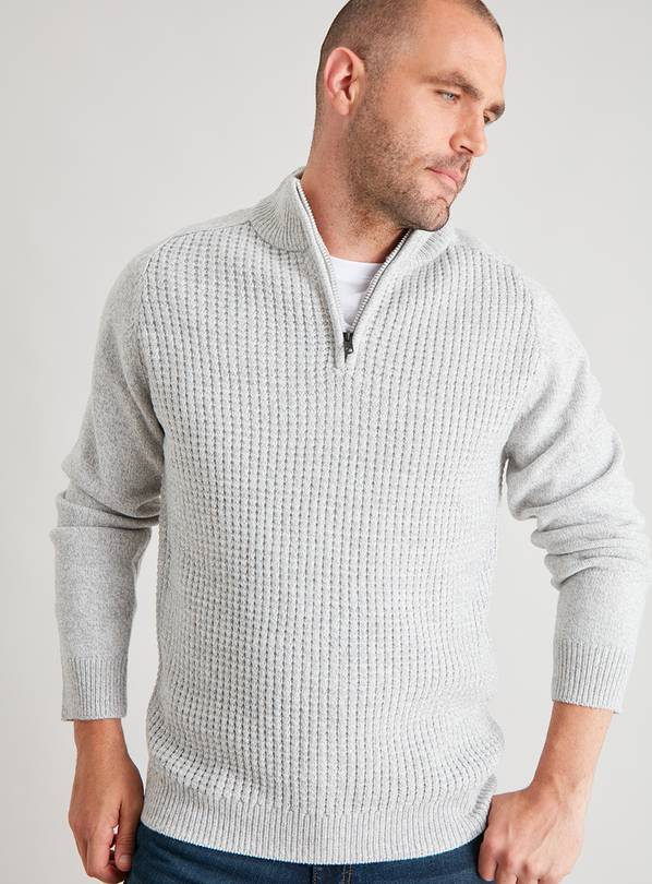 Winter White Half Zip Textured Jumper - S