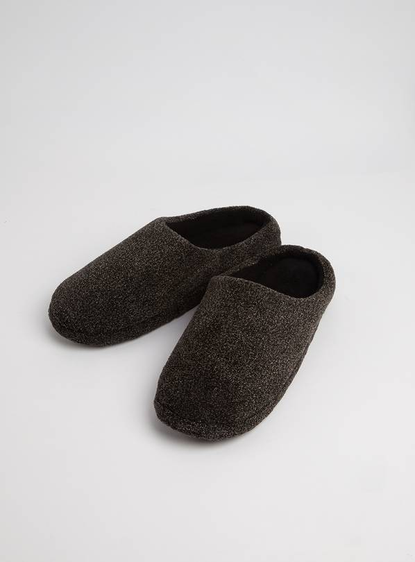 Grey Fleck Velour Mule Slipper - S