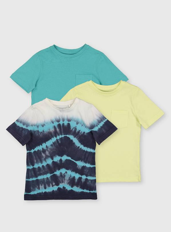 Blue, Yellow & Tie Dye T-Shirts - 7 years