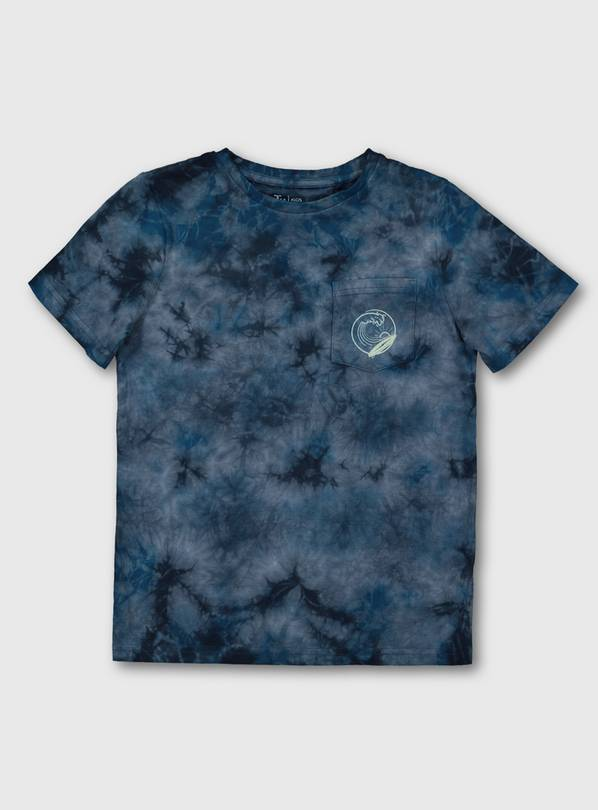 Navy Blue Tie Dye Surf Motif T-Shirt - 8 years