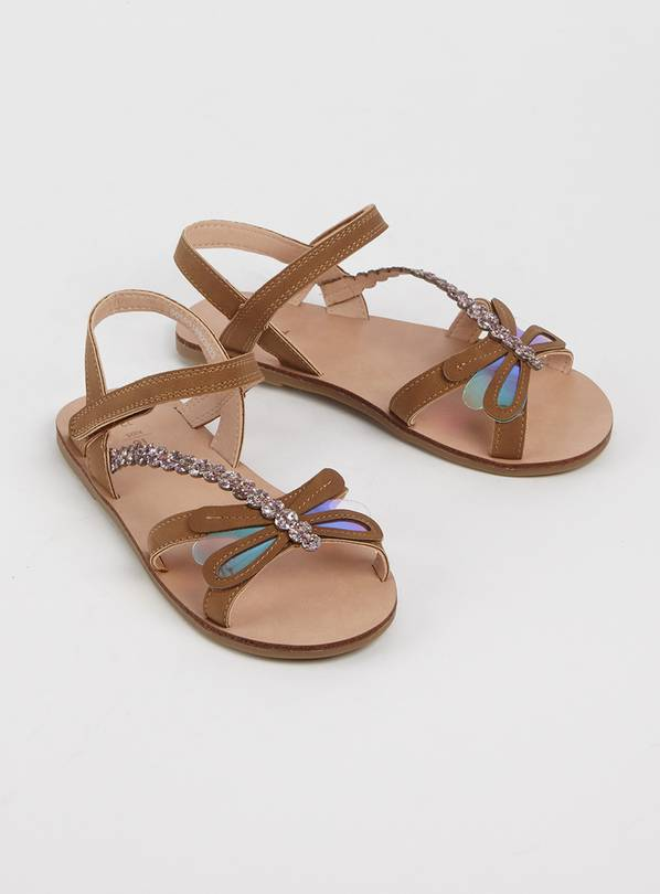 Tan Iridescent Dragonfly Sandals - 7 Infant