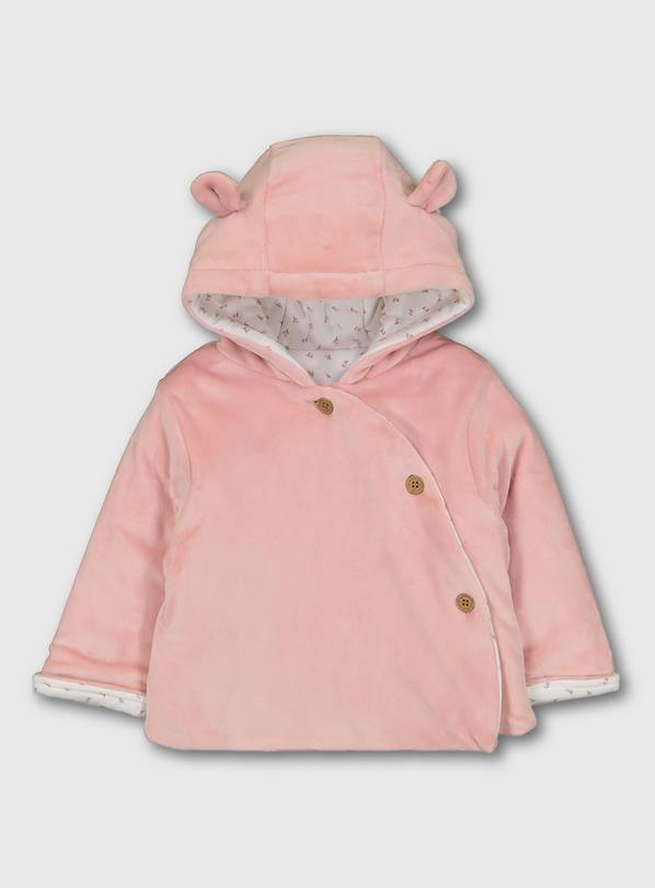 Pink Velour Hooded Jacket With Jersey Lining - 9-12 months