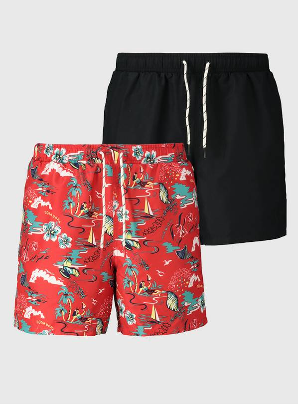 Black & Red Tropical Shortie Swim Shorts 2 Pack - XXXL