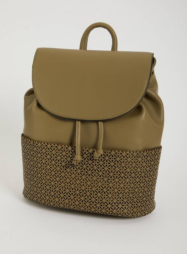 Khaki Faux Leather Laser Cut Backpack - One Size