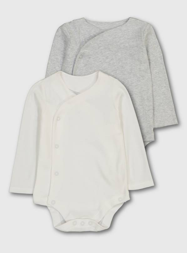 Grey & White Organic Cotton Bodysuit 2 Pack - Newborn
