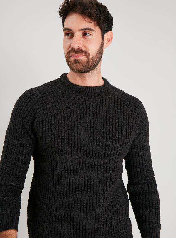 Charcoal Grey Waffle Knit Jumper - XS