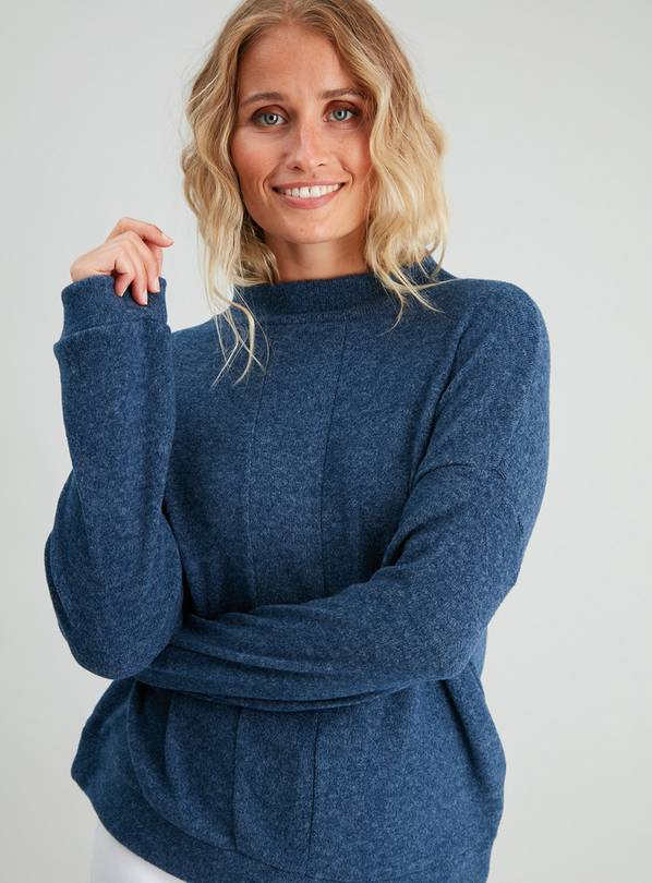 Navy Soft Touch Panelled High Neck Sweatshirt - 10