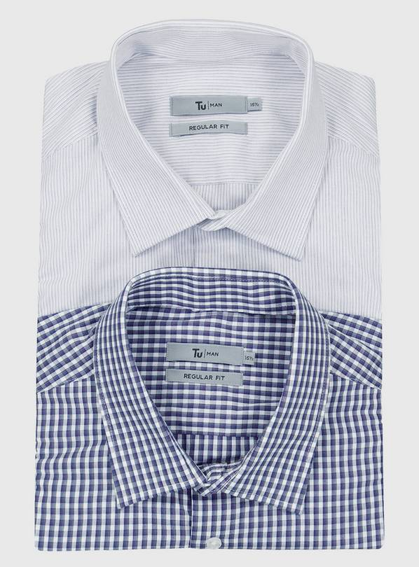 Navy Gingham & Stripe Regular Fit Easy Iron Shirt 2 Pack - 1