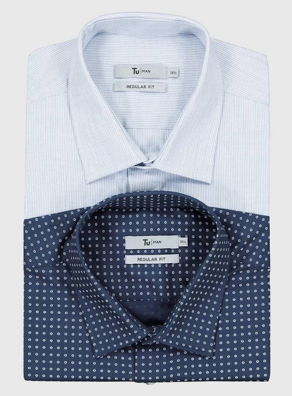 Diamond Print & Stripe Easy Iron Regular Fit Shirt 2 Pack -