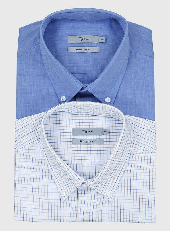 Blue & Tattersall Easy Iron Regular Fit Shirts 2 Pack - 18