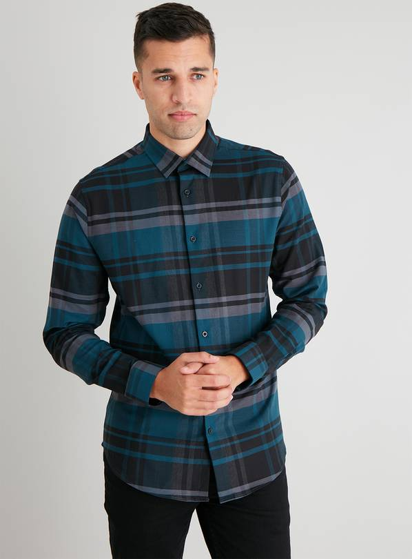 Blue Check Slim Fit Shirt With Stretch - XXXL