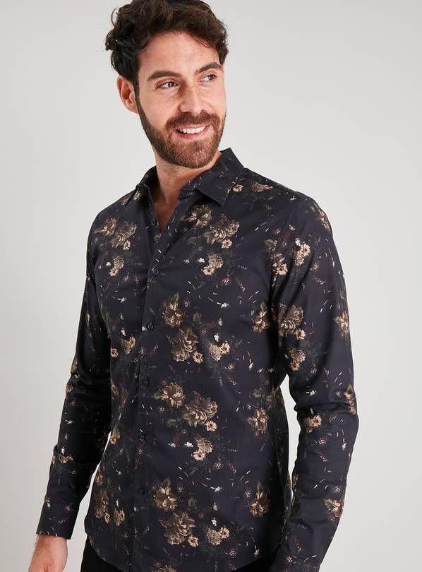 Gold Rose Print Slim Fit Shirt With Stretch - L
